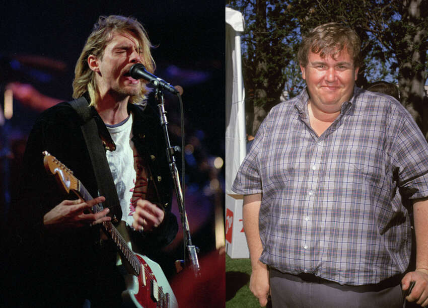 LEFT: Kurt Cobain, lead singer for the Seattle-based band Nirvana, performs in this Dec. 13, 1993, file photo during the taping of MTV's Live and Loud Production in Seattle. RIGHT: Actor John Candy, circa 1990.