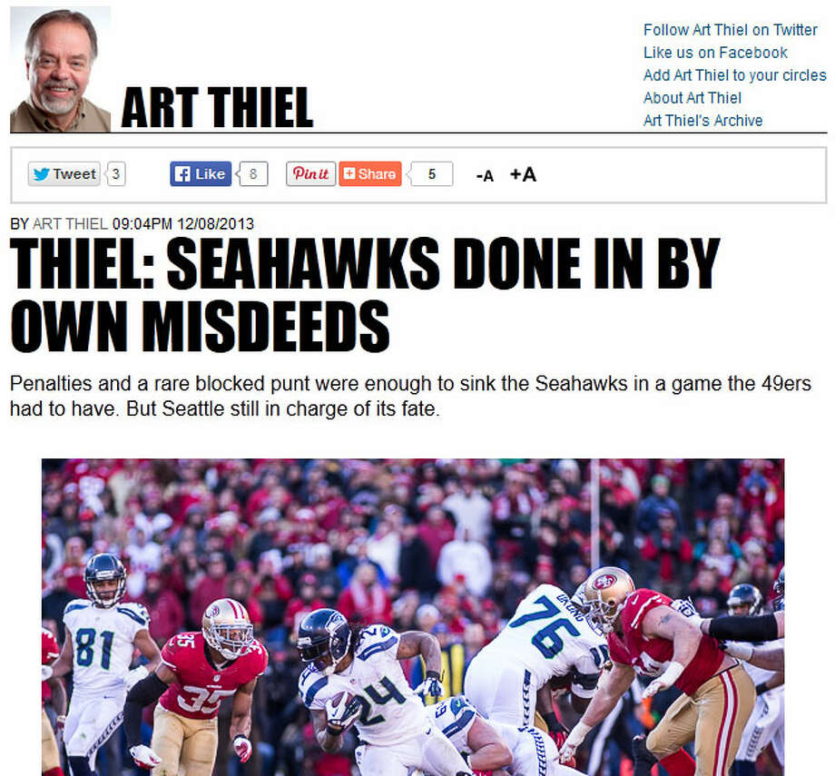 "Art Thiel of SportspressNW  In his wrap-up of Sunday's game, columnist Art Thiel of SportspressNW (and formerly of the Seattle P-I) wrote that the Seahawks defeated themselves just as much -- if not more -- than the 49ers beat them. ""The Niners made fewer mistakes in a game they had to have,"" Thiel wrote. ""And once the 49ers front office provided a script for fans on what to wear and how to (mis)behave, the Niners turned it into their fifth win in a row over Seattle at the 'Stick."" Photo: Screenshot, SportspressNW.com"