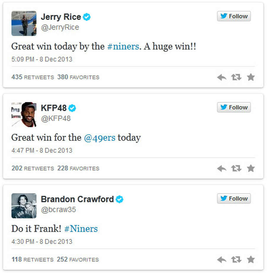 """49ers on Twitter  The Seahawks have clearly become the team to beat in the NFC. On Monday, 49ers.com compiled a long list of tweets from current and former Niners congratulating San Francisco on its win. Pro Football Hall of Famer Jerry Rice wrote: """"Great win today by the #Niners. A huge win!!"""" Photo: Screenshot, 49ers.com"""
