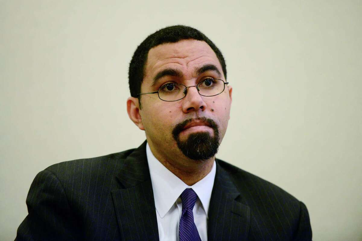 State Education Commissioner John King talks about the Common Core education initiative during a Times Union editorial board meeting Monday, Dec. 9, 2013, in Colonie, N.Y. (Will Waldron/Times Union)