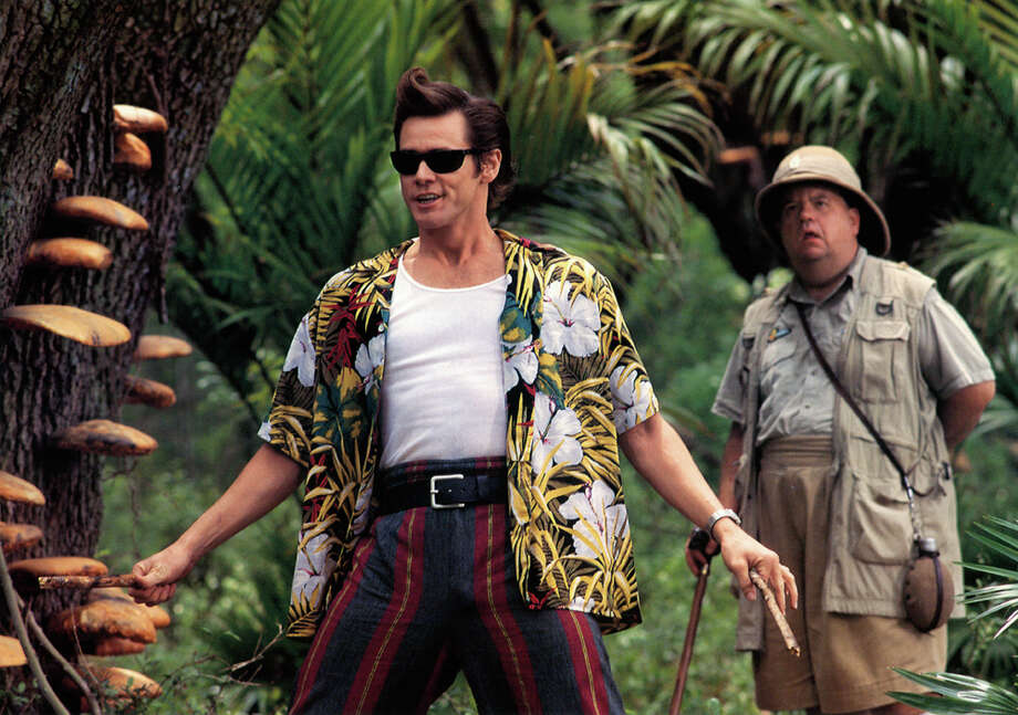 "Jim Carrey ventures through the jungle in a scene from the sequel ""Ace Ventura: When Nature Calls,"" 1995. Photo: Archive Photos, Getty Images / 2012 Getty Images"