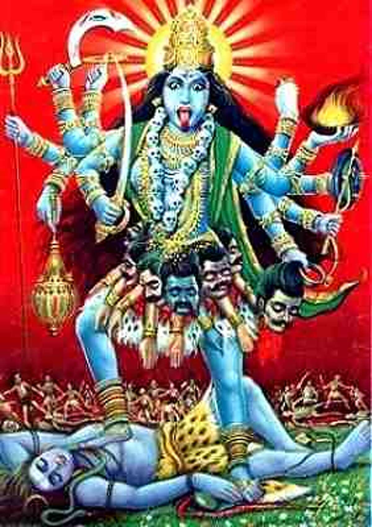Hindu goddess Kali may look intimidating--partly because she likes to wear a necklace of human skulls--but she is famous as a slayer of evil and champion of the good. When a Hindu swastika faces left, it denotes a connection to some elements of Kali. If it faces right, it is a symbol of luck and prosperity, once a common decoration for wedding invitations. Many in the Hindu community want New York school curriculum about symbols of hate to explain to students that the Hindu swastika is an ancient holy symbol with no relationship to the Nazis.