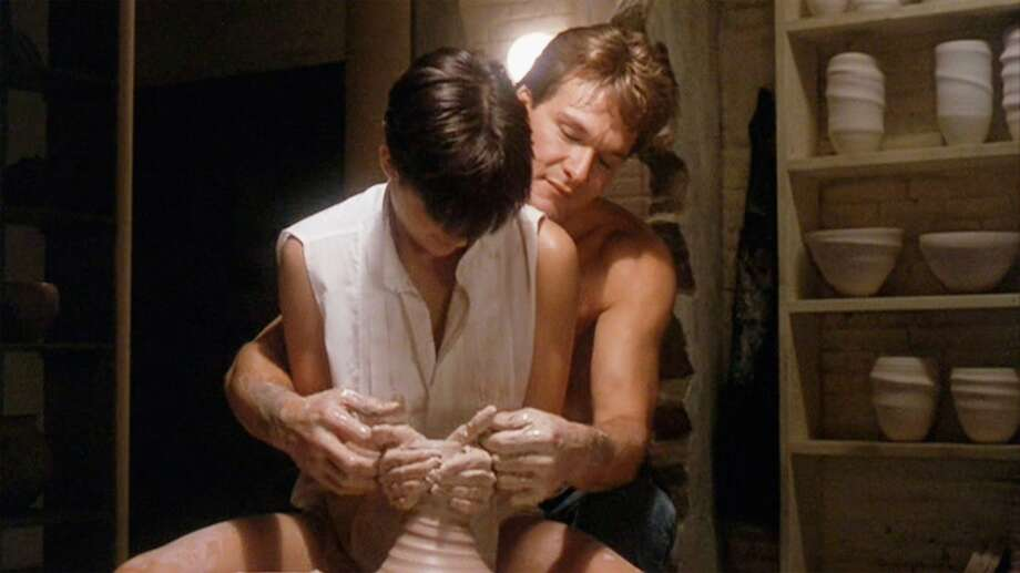 "Ghost (1990): When a not-yet-dead Sam Wheat (Patrick Swayze) gives Molly Jensen (Demi Moore) an erotic pottery lesson while the Righteous Brothers' ""Unchained Melody."" 