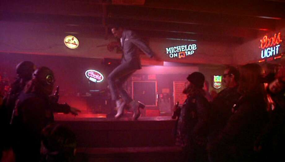 "Pee-wee's Big Adventure (1985): When Pee-wee Herman (Paul Reubens) wins over some angry bikers with an impressive pair of platform shoes and ""Tequila"" by the Champs. Watch the clip. Photo: Warner Bros."