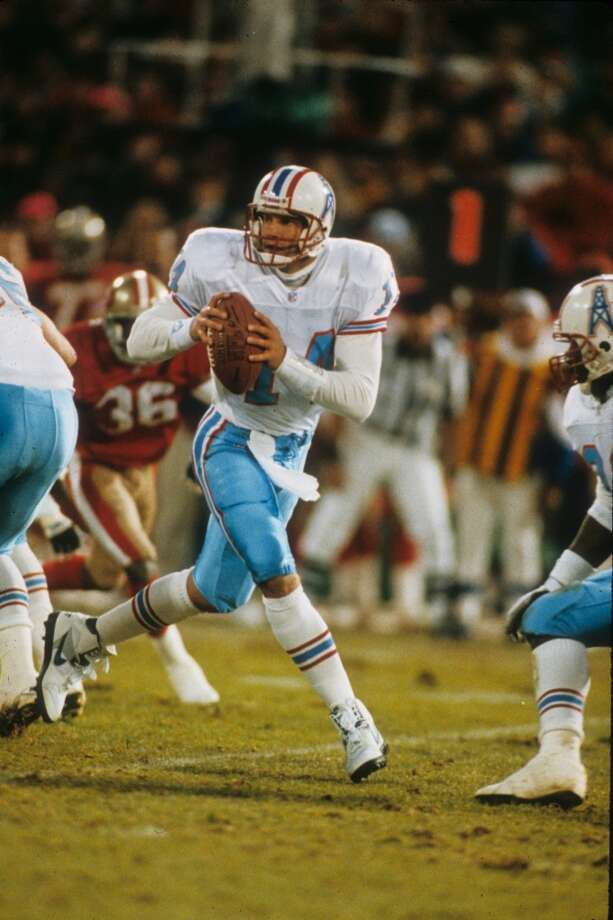 The Oilers won a highly-anticipated clash against Steve Young and the 49ers on Christmas Day. Houston scored all of its points in the second quarter, in a low-scoring 10-7 decision. At the time it was billed as a possible Super Bowl preview. Backup quarterback Cody Carlson finished the game for an injured Warren Moon. Photo: Joseph Patronite, Getty Images