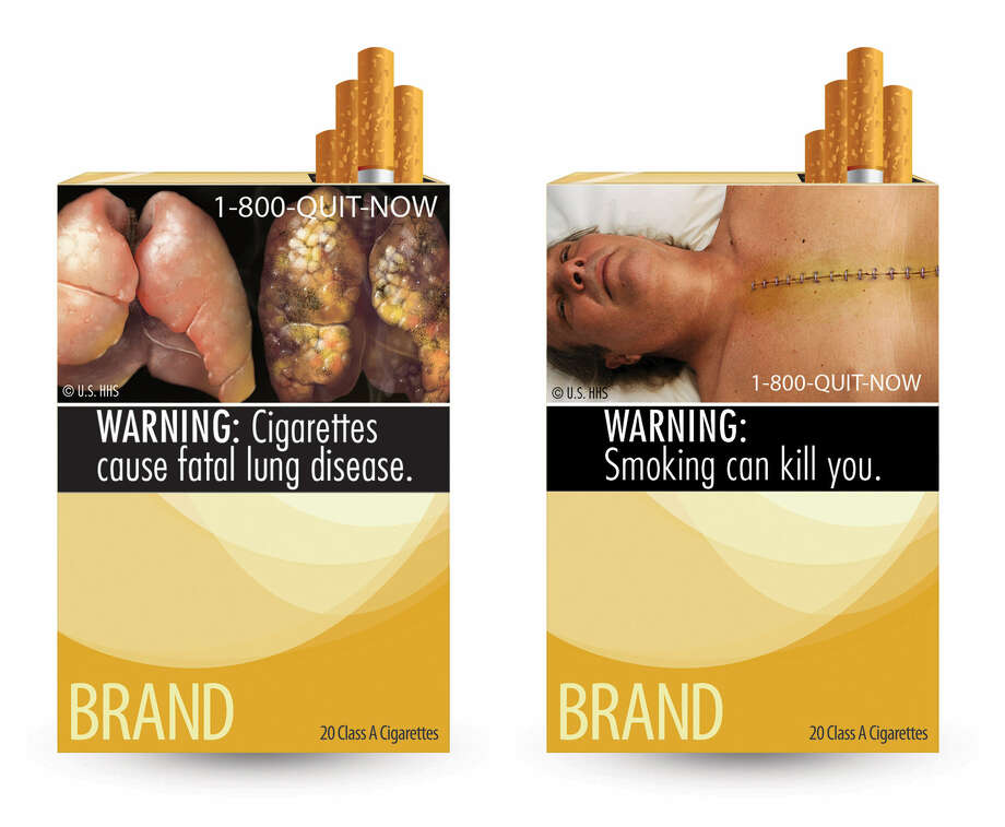 Cigarette package warning labels like these were proposed by the FDA, but a court ruled them unconstitutional. Photo: Associated Press