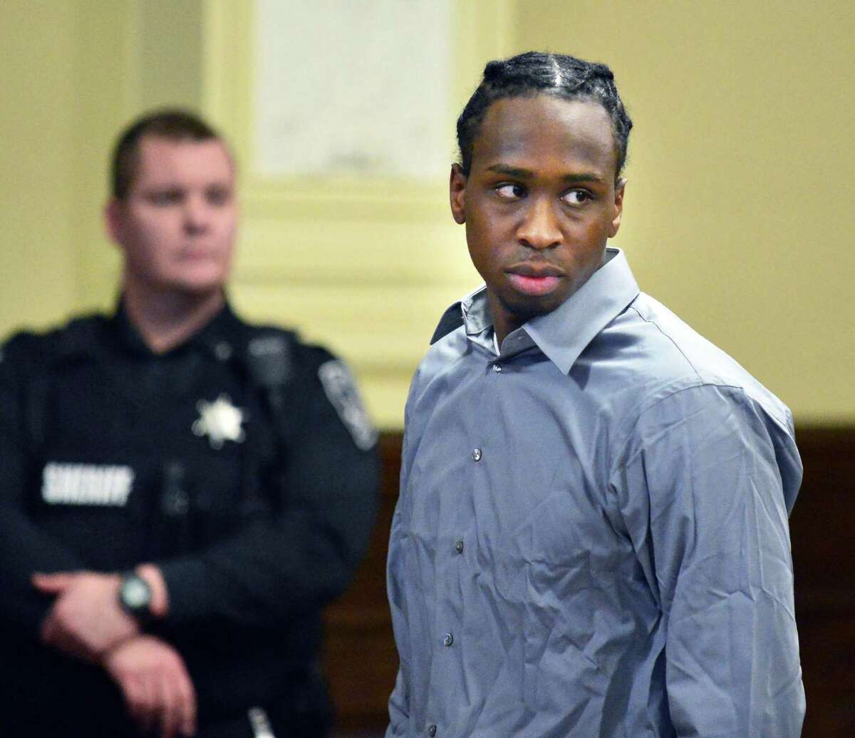 Quintril Clark, 23, of Troy appears in court at the beginning of his trial in the killing of Sha-Kim Miller on Tuesday Dec. 3, 2013, at the Rensselaer County Courthouse in Troy, NY. (John Carl D'Annibale / Times Union)