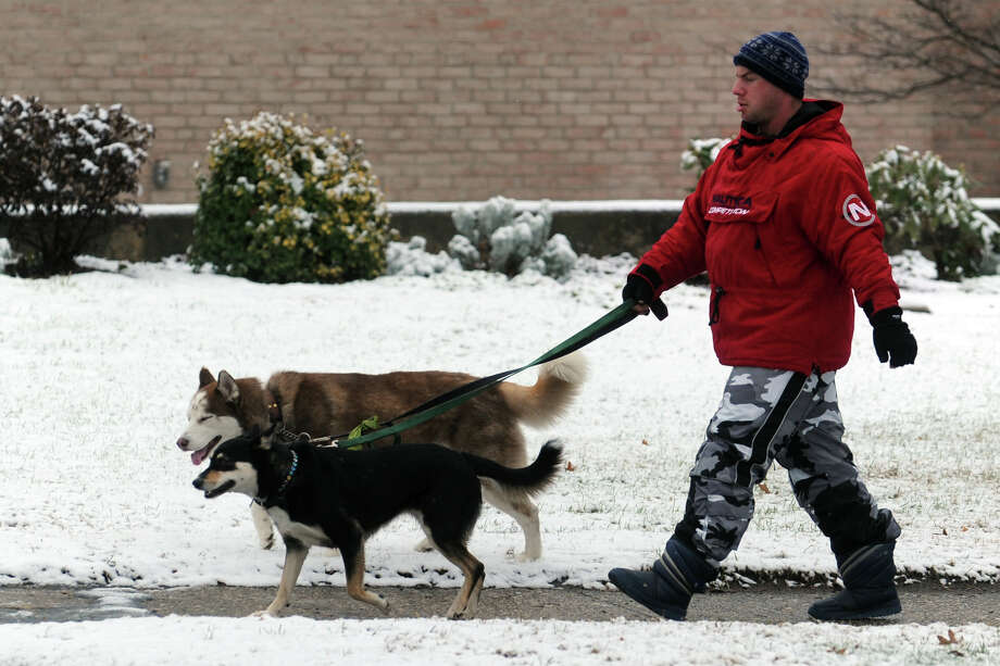Adam Strachman walks his dogs, Zen and Om, along Main St. in Stratford, Conn. during the first snowfall of the season Dec. 10, 2013. Photo: Ned Gerard / Connecticut Post