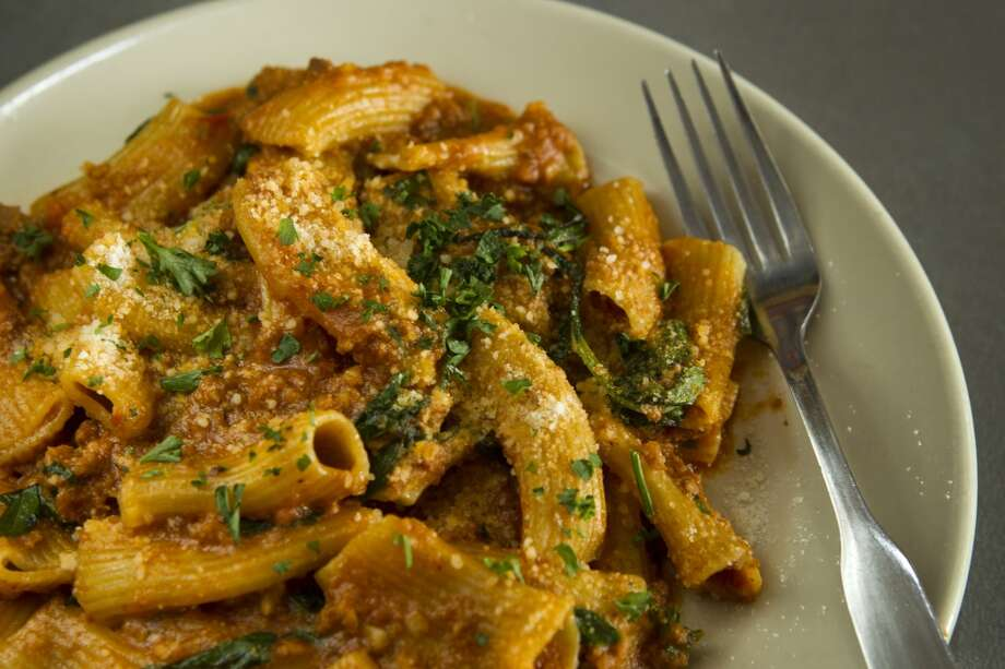 Rigatoni bolognese is shown at Paulie's. ( Brett Coomer / Houston Chronicle ) Photo: Brett Coomer, Houston Chronicle