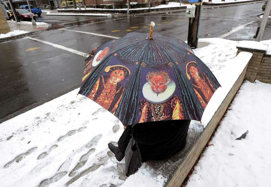 Lynn Sawyer of Greenwich used her cat umbrella while waiting for the bus during a morning snow storm on Hamilton Avenue in the Chickahominy section of Greenwich, Tuesday, Dec. 10, 2013. Photo: Bob Luckey / Greenwich Time
