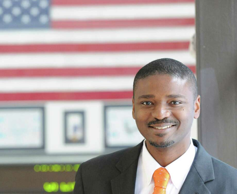 Western Middle School Assistant Principal, Albert Sackey, has been named the 2014 Connecticut Middle School Assistant Principal of the Year by the Connecticut Association of Schools and the National Association of Secondary School Principals, posed at the school in Greenwich, Tuesday, Dec. 10, 2013. Photo: Bob Luckey / Greenwich Time