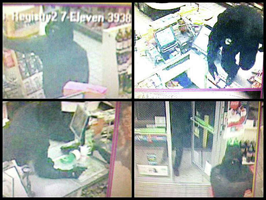 Images from the surveillance camera at the 7-Eleven store in the Shell gas station, 3232 Post Road, show two masked robbers who held up the store Monday night and escaped with money from the cash register. Photo: Fairfield Police Department / Fairfield Citizen contributed