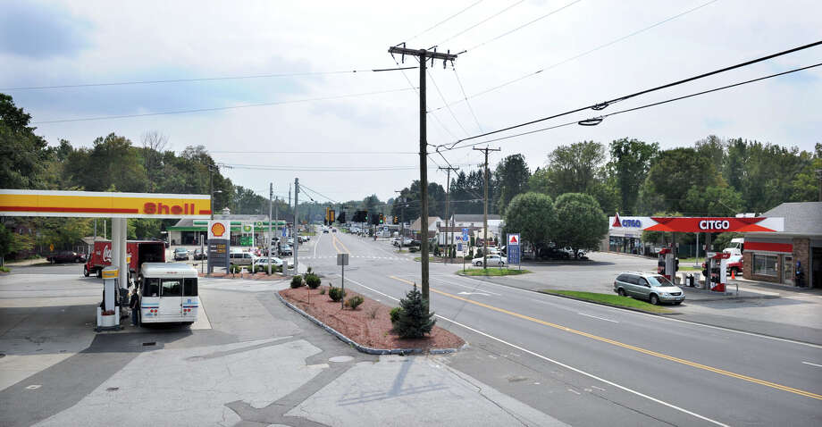 The Four Corners in Brookfield, looking south, in this file photo. Photo: Carol Kaliff / The News-Times