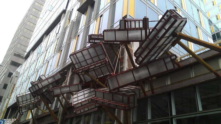 """Caruso's Pianos"" a new public sculpture at Ninth and Market Streets. Chronicle/Sam Whiting"