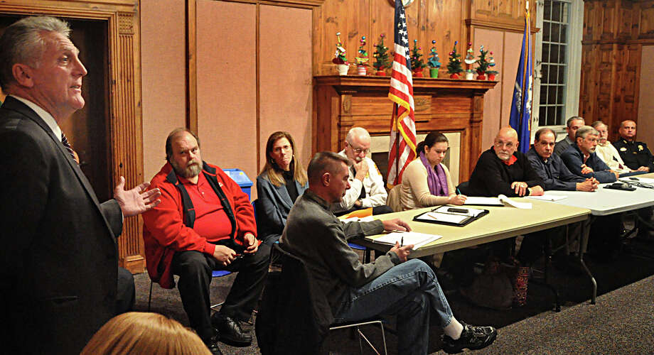 Mayor Harry Rilling, left, leads his first Mayor's Night Out forum in City Hall on Monday night. At right are Common Council members and municipal department heads who answered questions from the public. Photo: Nancy Guenther Chapman / Norwalk Citizen contributed