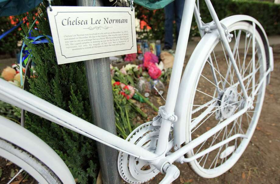 Memorial for Chelsea Norman, 24, a cyclist who was hit by a motorist Dec. 1st near the corner of Waugh and West Gray on Monday, Dec. 9, 2013, in Houston. Photo: Mayra Beltran, Houston Chronicle / © 2013 Houston Chronicle