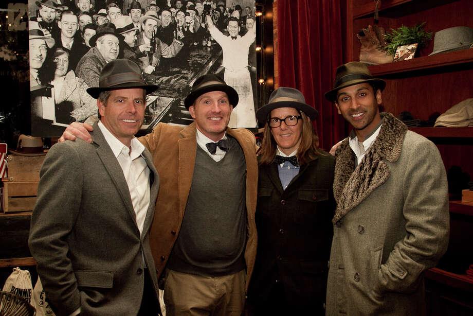 Tom Morris, Brian Rouspil, Anna Delis and Kiran Gowda, all Goorin Bros. bigwigs, at Thursday's party. Photo: Courtesy, Melissa De Mata