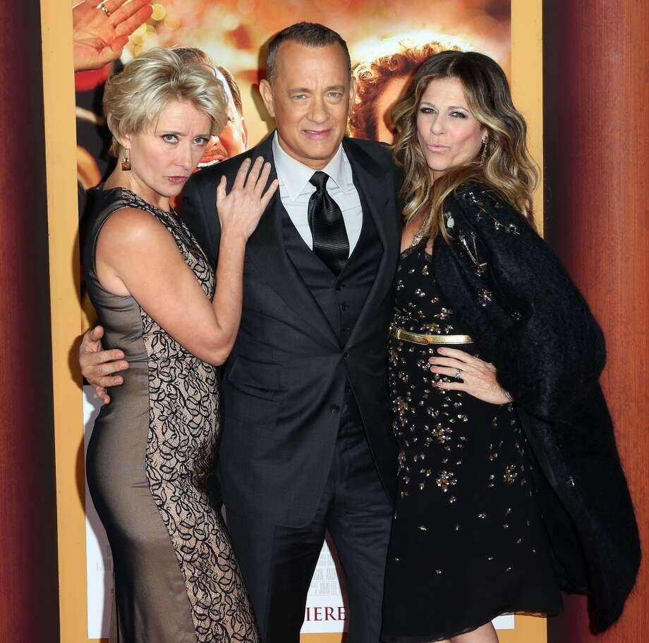 "(L-R)Actress Emma Thompson, actor Tom Hanks and producer Rita Wilson attend the Premiere of Disney's ""Saving Mr. Banks"" at Walt Disney Studios on December 9, 2013 in Burbank, California.  (Photo by Frederick M. Brown/Getty Images) Photo: Frederick M. Brown, Getty Images"