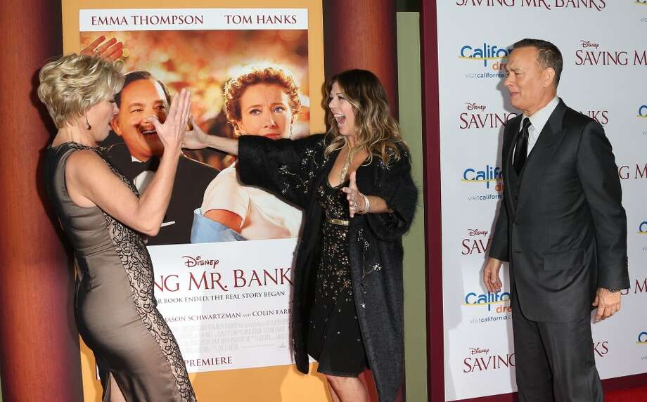 "(L-R)Actress Emma Thompson, producer Rita Wilson and actor Tom Hanks attend the Premiere of Disney's ""Saving Mr. Banks"" at Walt Disney Studios on December 9, 2013 in Burbank, California.  (Photo by Frederick M. Brown/Getty Images) Photo: Frederick M. Brown, Getty Images"