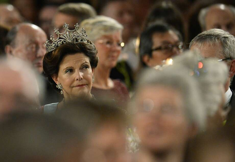 Queen Silvia of Sweden attends the traditional Nobel Prize banquet at the Stockholm City Hall on December 10, 2013 following the Nobel Prize award ceremonies for Medicine, Physics, Chemistry, Literature and Economic Sciences. Photo: Jonathan Nackstrand, AFP/Getty Images
