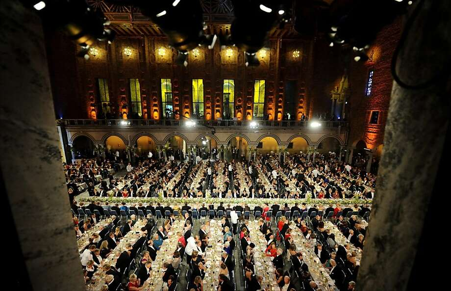 An overview of guests seated at the traditional Nobel gala banquet at the Stockholm City Hall, Tuesday, Dec. 10, 2013, following the Nobel Prize award ceremonies for Medicine, Physics, Chemistry, Literature and Economic Sciences.  Photo: Henrik Montgomery, Associated Press