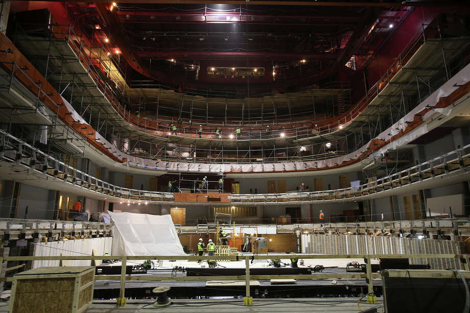 This view from the stage shows construction on the Tobin Center on November 26, 2013. Photo: TOM REEL