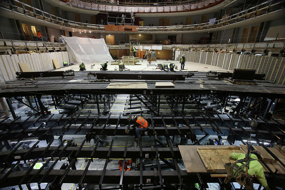 Construction on the Tobin Center shows the view from the stage of the  1,750-seat  H-E-B Permormance Hall on November 26, 2013. Photo: TOM REEL
