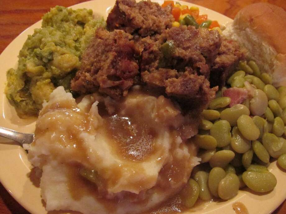 A Tuesday plate lunch at the Boudain Hut: meatloaf, mixed veggies, Brussels sprouts, mashed potatoes with gravy and a roll. Photo: Cat5