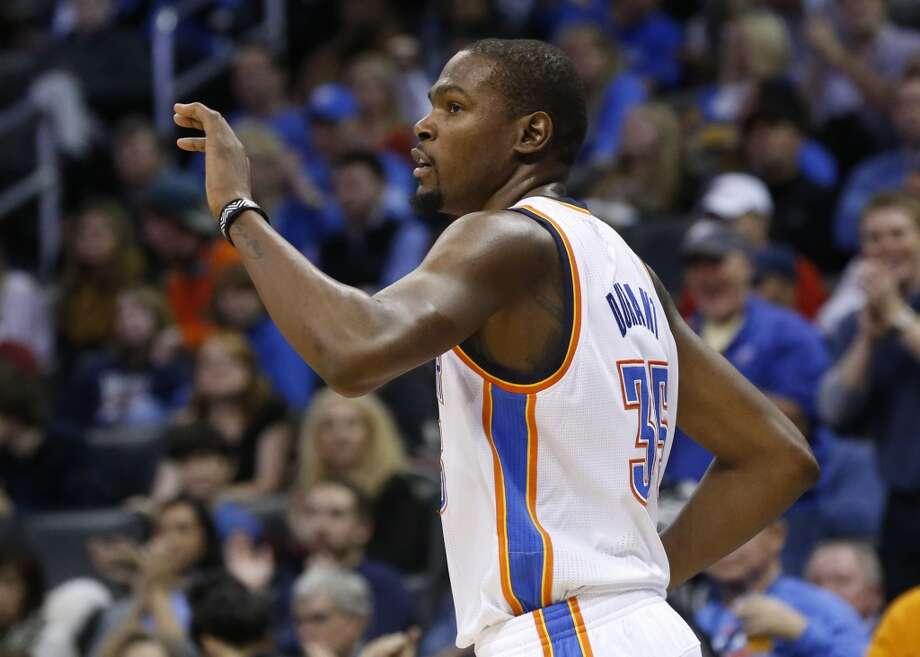 14. Kevin Durant  Team: Oklahoma City Thunder  Position: Small forward  Money owed this season: $17,832,627 Photo: Sue Ogrocki, Associated Press