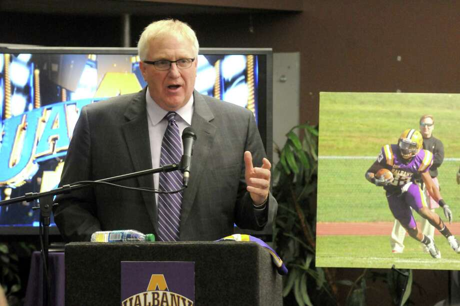 Greg Gattuso, the new UAlbany football head coach, speaks during a press conference to announce his hiring Tuesday afternoon, Dec. 10, 2013, at SEFCU Arena in Albany, N.Y. (Michael P. Farrell/Times Union) Photo: Michael P. Farrell / 00024963A