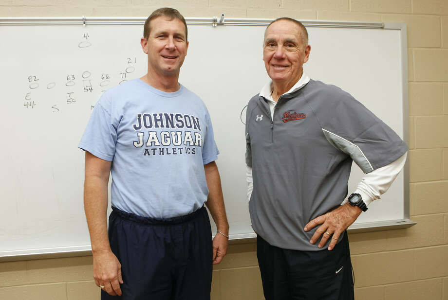 Johnson's Ron Rittimann (left) and Madison's Jim Streety have guided their teams to the Class 5A Division II and I state semifinals, respectively. Rittiman spent 17 years as Streety's assistant. Photo: Marvin Pfeiffer / San Antonio Express-News