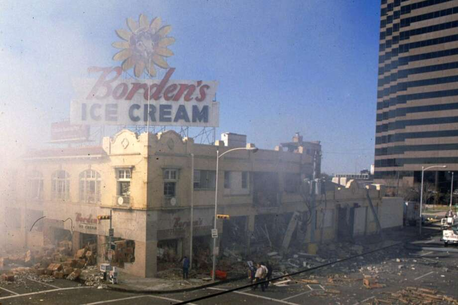 Remains of the Borden Ice Cream plant following an explosion, Dec. 11, 1983. Photo: Houston Chronicle
