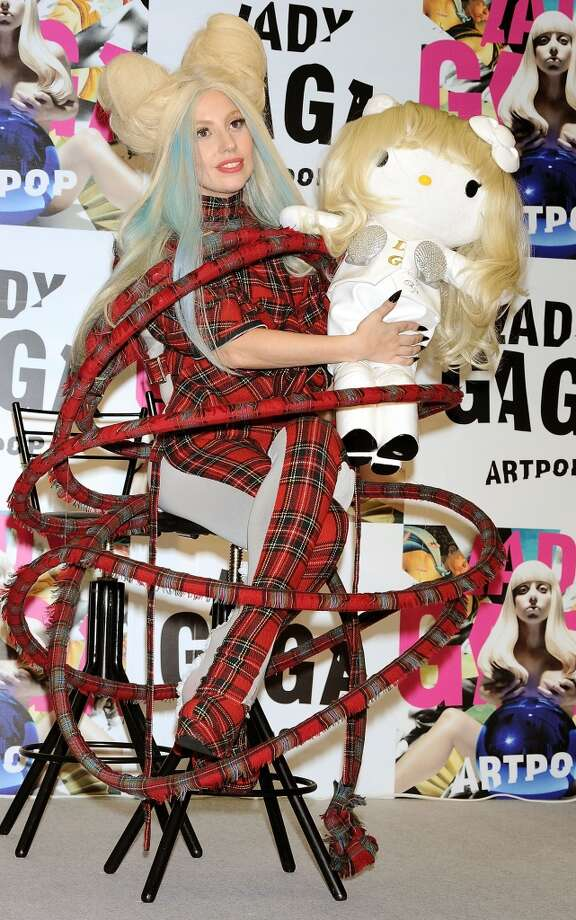 """And then there was this contraption as Lady Gaga attends the press conference for her new album """"Artpop""""  in Tokyo. Photo: Jun Sato, WireImage"""