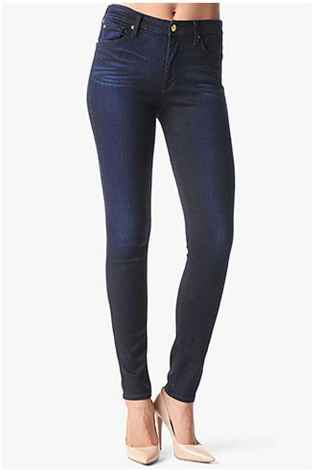 """High-waisted jeans. While this silhouette has a slight """"mom jeans"""" reputation, the high rise (think seven inches or more) is a welcome relief from the dreaded, unflattering two-inch zipper. High-waist skinny, 7 for All Mankind ($189) Photo: 7 For All Mankind"""