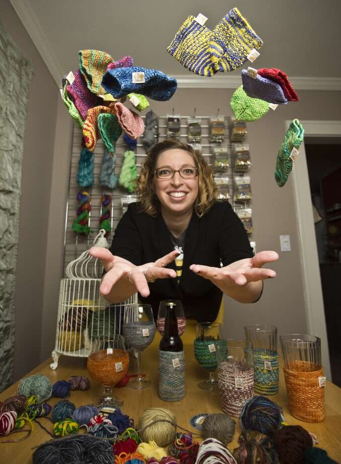 Katie Mahoney, owner of The Caged Yarn,  is offering a holiday discount while guaranteeing delivery by Christmas on orders placed before Dec. 18 at beersox.com. Photo: Eric Kayne, For The Houston Chronicle