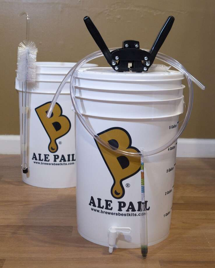 The Bare Bones home beer brewing kit made by Brewer's Best sells for $85 at the Backyard Home Brewers and Education Center, 802 E 1st St. in Humble. At the other end of the spectrum, you can find The Beast there for $185. Photo: Johnny Hanson, Houston Chronicle