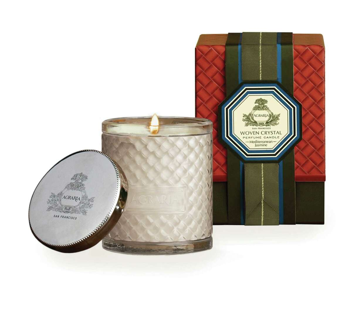 Agraria Mediterranean Jasmine Candle: The scent takes you to a flower garden. $35 to $55. Also, check out the fragrance diffusers and bath scents. Available at agrariahome.com, SaksFifthAvenue.com and NeimanMarcus.com.