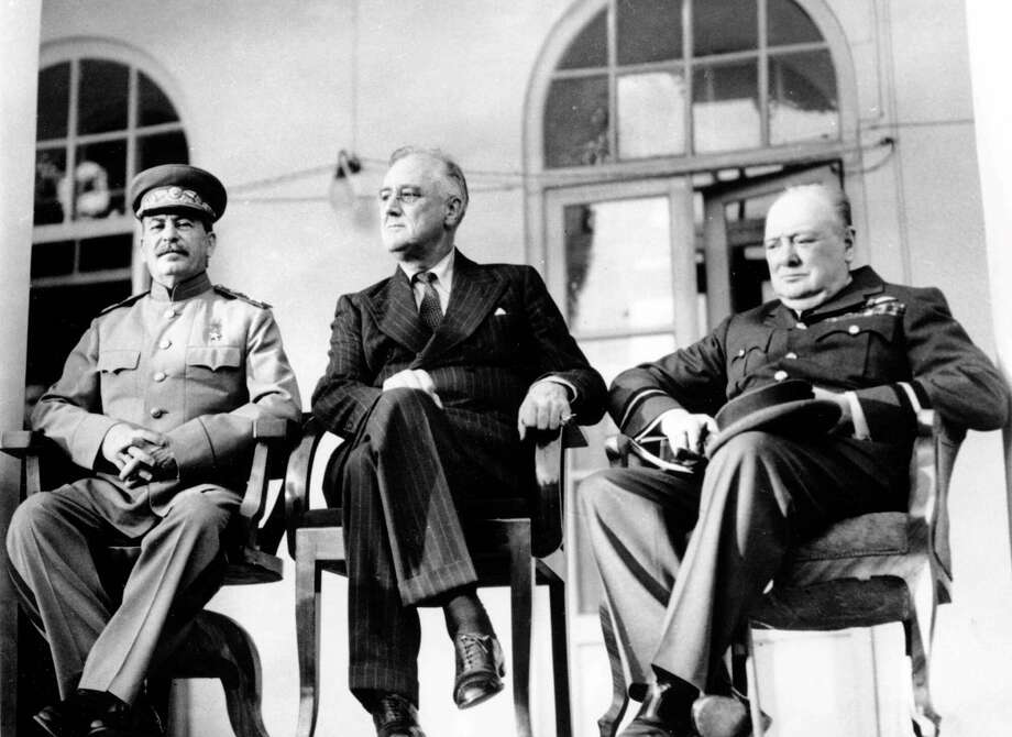 Soviet Union Premier Josef Stalin,   U.S. President Franklin D. Roosevelt and British Prime  Minister Winston Churchill meet for the first time at the Tehran  Conference on Nov. 28,  1943 to discuss Allied plans for the war against Germany and postwar cooperation in the United Nations. Churchill worried about  Roosevelt's willingness to trust 'Old Joe' Stalin. The Russian leader's policies at home resulted in the deaths of thousands of people and his post-war activities would later usher in the Cold War.