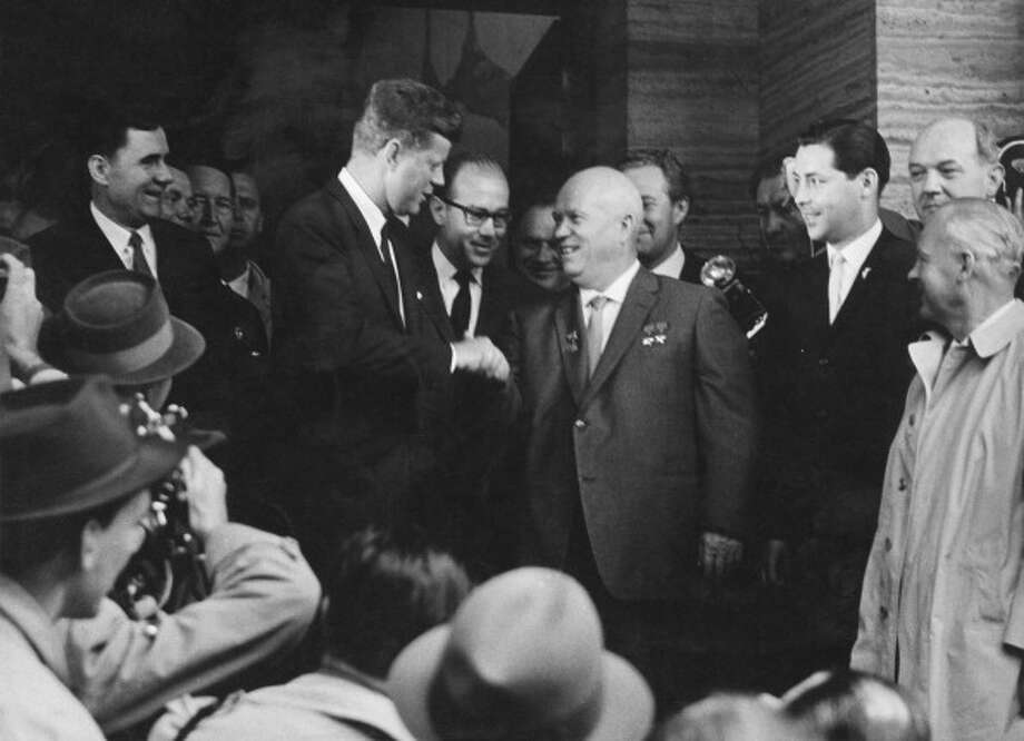 President John F Kennedy shakes hands with Soviet  premier Nikita Khrushchev at the Vienna Summit in Austria June 4, 1961. Khrushchev's rule was punctuated by the Cuban Missile Crisis. / 2011 Getty Images