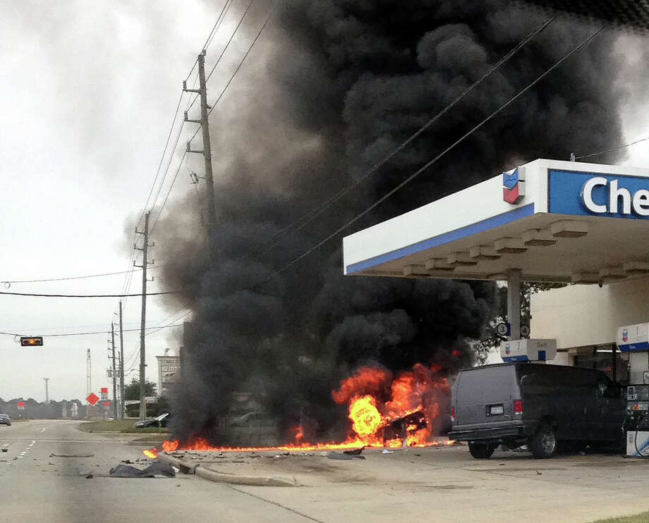 A Chron.com reader sent in these photos of the fire at a Harris County gas station, Dec. 11, 2013.