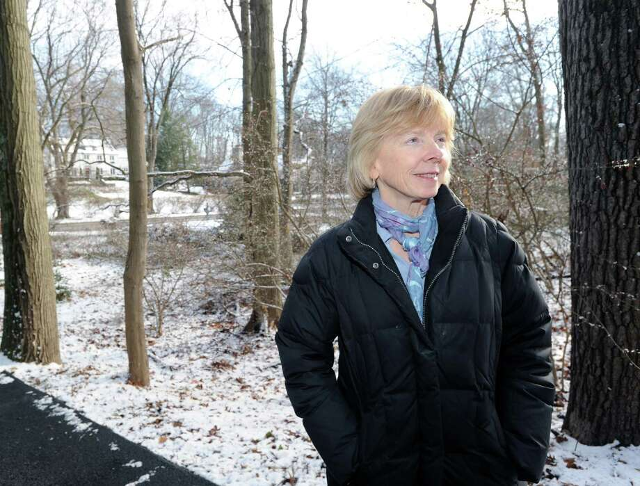 Greenwich Land Trust Executive Director Ginny Gwynn stands on the 1.8 acre parcel of land that the trust acquired off Hillside Road in Greenwich, Wednesday, Dec. 11, 2013. Photo: Bob Luckey / Greenwich Time