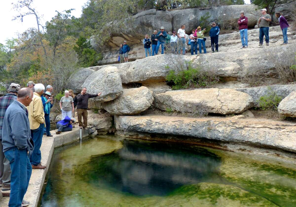 Master Naturalists visit Jacob's Well, one of the most significant natural geologic treasures in Texas. (Photo by Charles McClure.)