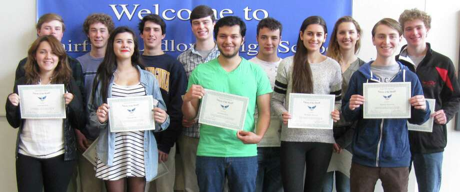 NOVEMBER FALCONS OF THE MONTH A dozen Fairfield Ludlowe High School students were cited as the school's Falcons of the Month for November. Each month, the school recognizes a group of students for representing one of the traits outlined in its mission statement. That trait for November was acceptance --- recognizing and respecting differences, Ludlowe said. November honorees, with their certificates are, from left: Samantha Smith, Tom Ryan, Kyle Cavadi, Nina Harold, Connor Humiston, Owen Mockler, Jonathan Lopez, Grant Gereben, Alexandra Morrison, Lauren Schreiber, Matthew Rosenstein, and George Whiteside. Photo: Contributed Photo / Fairfield Citizen contributed