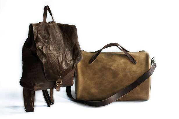 Stash Co. backpack, $299, and oiled leather duffel, $599