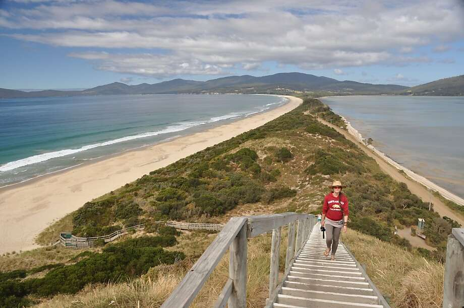 """The Neck"" connects the halves of long Bruny Island, just off Tasmania. Among its attractions are a cheese factory, oyster farm, vineyard and smokehouse. Photo: Jim Hutchison"