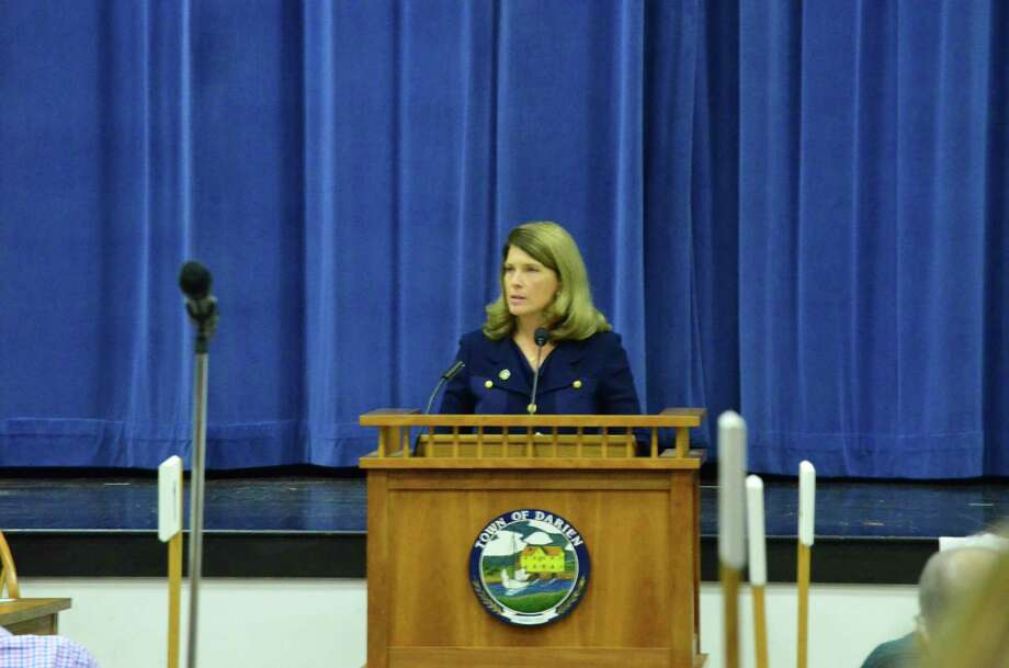 First Selectman Jayme Stevenson at the RTM's State of the Town. Photo: Megan Spicer / Darien News