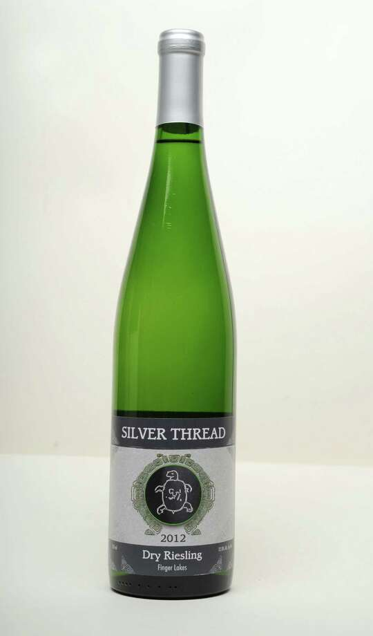 2012 Silver Thread dry riesling wine from the Finger Lakes on Thursday, Sept. 26, 2013 in Colonie, N.Y. (Lori Van Buren / Times Union) Photo: Lori Van Buren / 00024020A