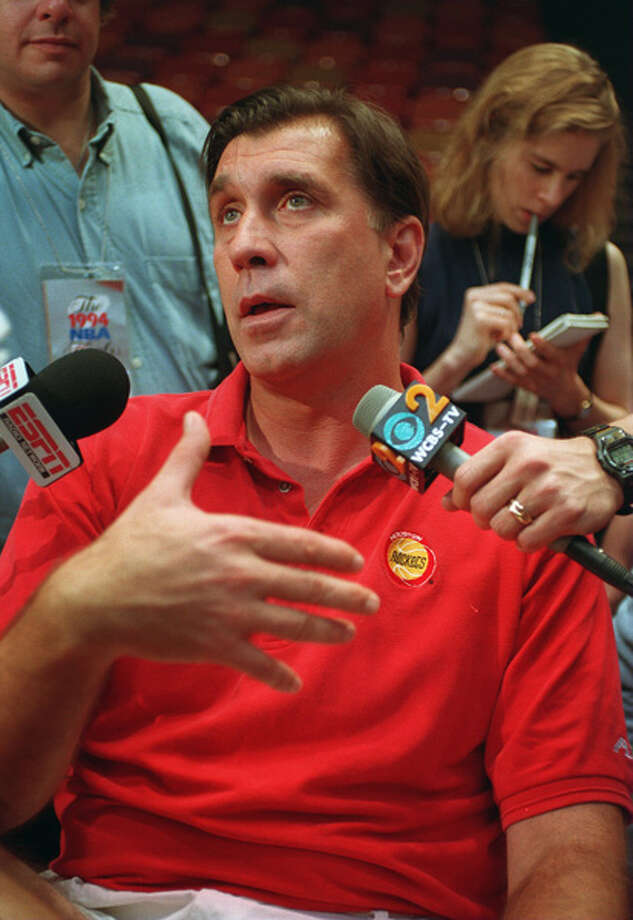 "Rockets coach Rudy '""T"" Tomnajovich responds to questions from reporters prior to a Game 7 NBA Finals win in 1994. Photo: Getty Images / Getty Images North America"