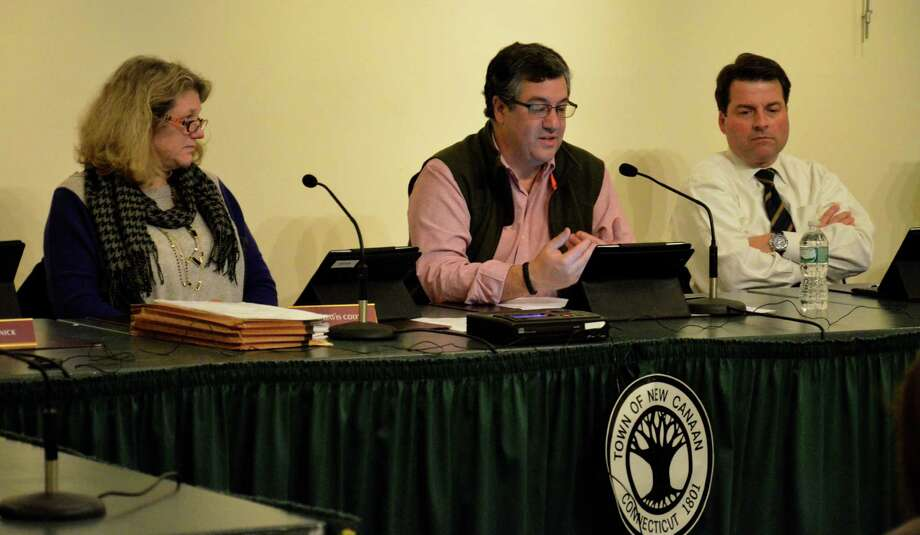 Board of Finance members, Mary Davis Cody, First Selectman Robert Mallozzi and Robert Spangler, talk about a proposed capital budget process during the board's regular meeting on Tuesday, Dec. 11, at the Nature Center in New Canaan, Conn. Photo: Nelson Oliveira / New Canaan News
