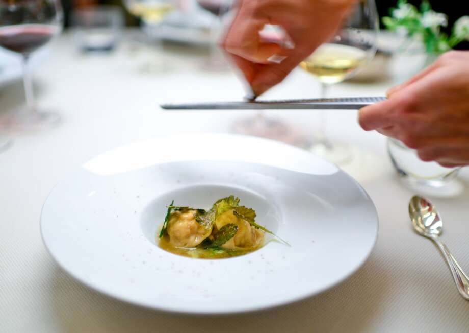 4th Course: Rye Pasta. rabbit, dried leaves, cured heart. Photo: Bonjwing Lee Photography